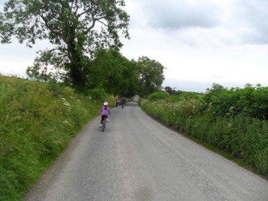 Our bike ride to Tallanstown. (Picture taken while biking!)