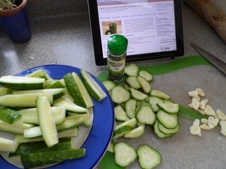 Pickling the cukes.