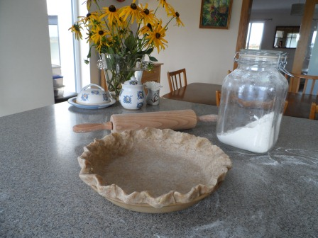 Tidying up the crust.