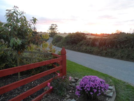 The front gate at sunset.