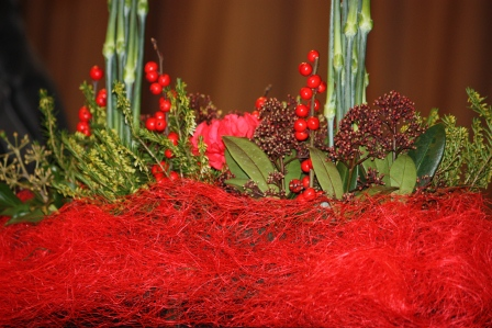 Close-up of Richard Haslam's carnation table arrangement.