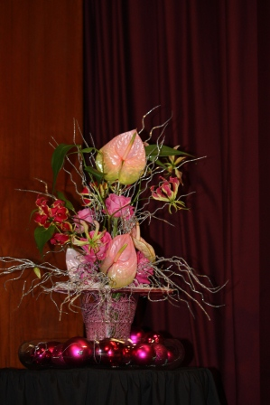 Richard Haslam's pink Christmas arrangement.