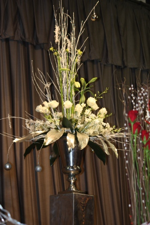 White roses Christmas arrangement by Richard Haslam.