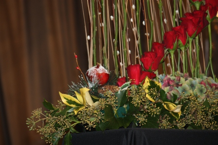 Close-up of Richard Haslam's red rose arrangement.