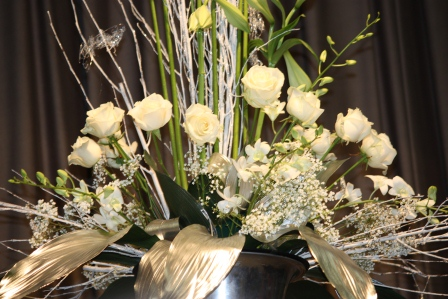 Close-up of white roses arrangement by Richard Haslam.