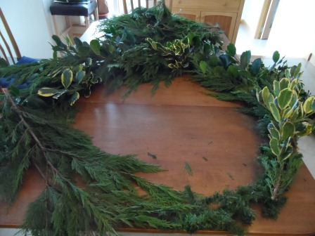 Using my cast iron wreath frame.