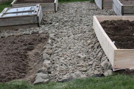 Stone pathway in the vegetable garden.