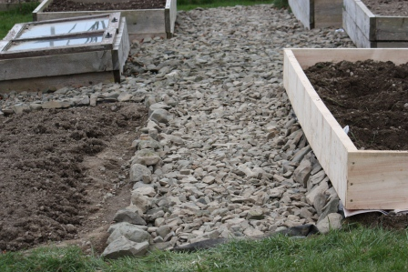 Stone pathway in the vegetable garden.