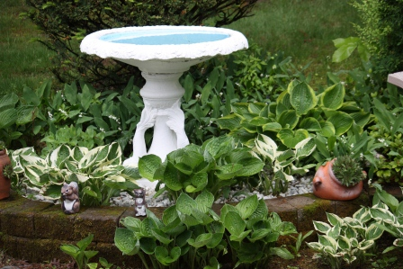 The bird bath has always been a part of the garden.