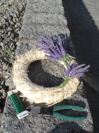 Making a lavender wreath.
