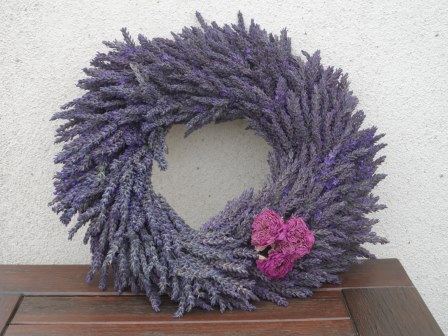 Lavender wreath with dried roses - all from the garden.