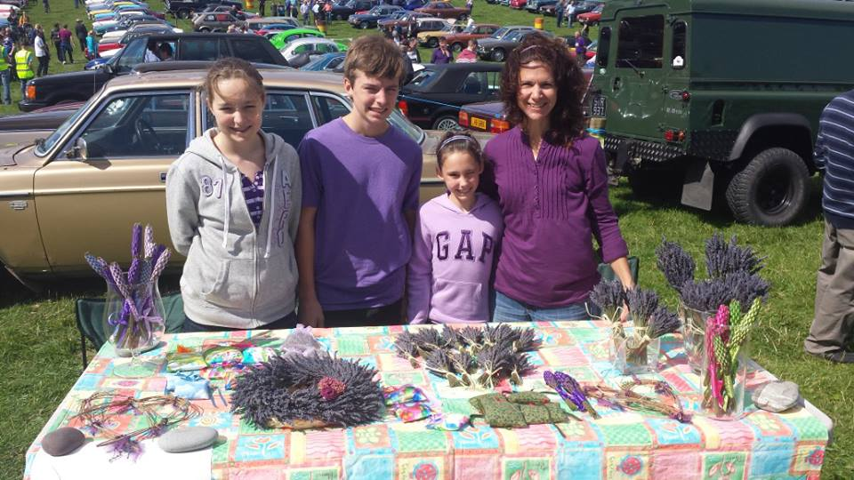 Selling lavender at the festival.