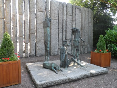 The Irish Famine memorial is on the north-east corner of St Stephen's Green, a semicircle of rough stone pillars.