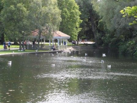 The man-made lake.