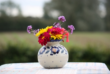 Fall flowers from the garden in my Polish Pottery vase.