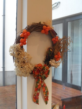 A fall harvest wreath