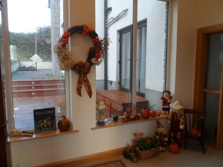 Fall harvest theme in the front hall.