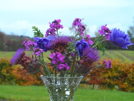 A vase of flowers in November.