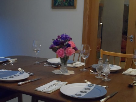 The table is set for company.