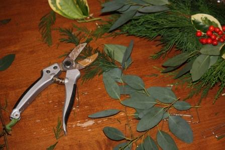 Garden shears, eucalyptus, holly, and evergreens.