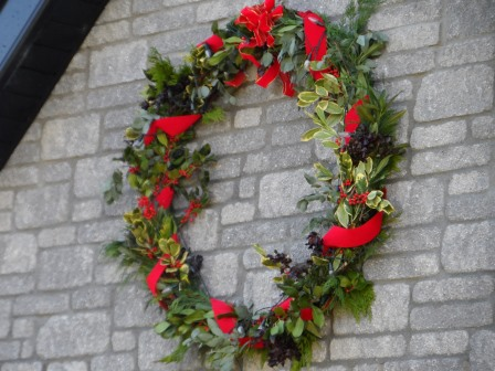Christmas wreath made with fresh greens