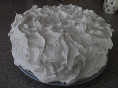 Snow icing covered fruit cake