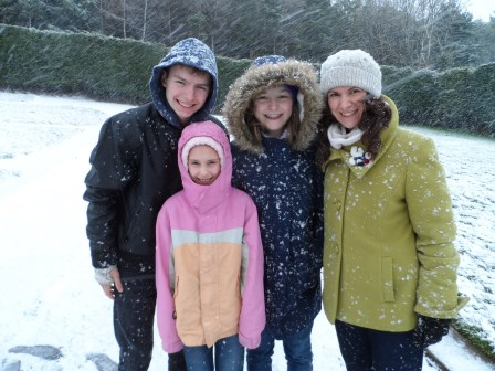 My three kids and I were out and about in the snow