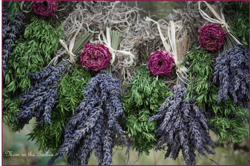 lavender and roses on wreath