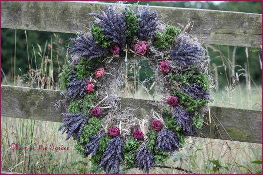 Lavender Wreath with roses and herbs