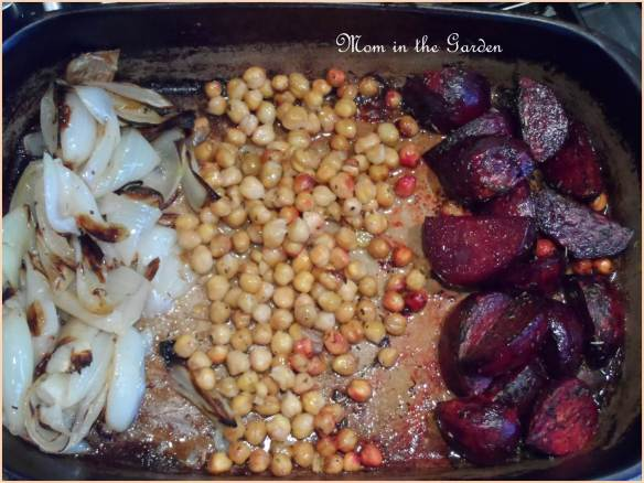 Roasted onions, chic peas & beets