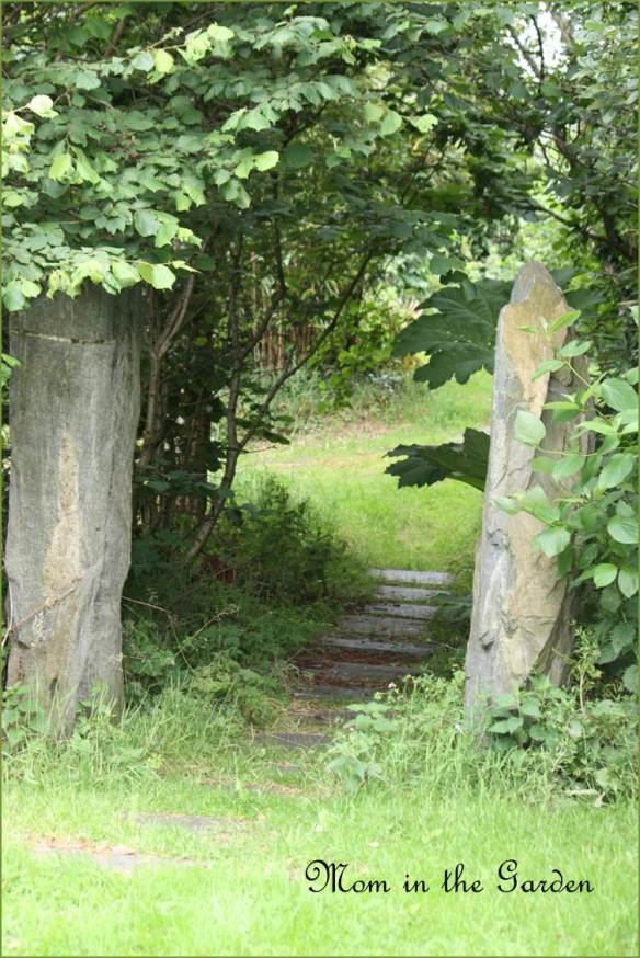 Leaving the lower gardens through the stones