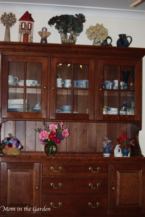 Stickley kitchen hutch as a backdrop for my flowers :-)