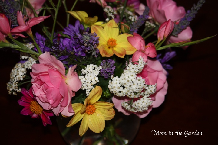 dahlias, roses, wild yarrow, lavender