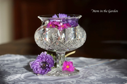 Waterford crystal candle holder with anemone and primrose