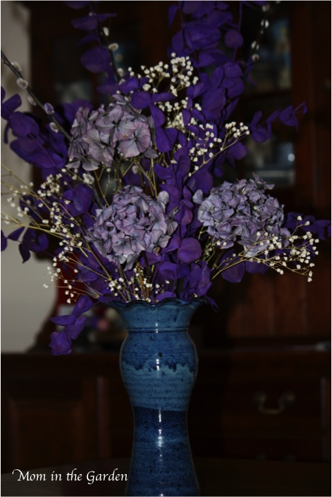 My favourite arrangement because I love the purple painted eucalyptus and the purple hydrangea.
