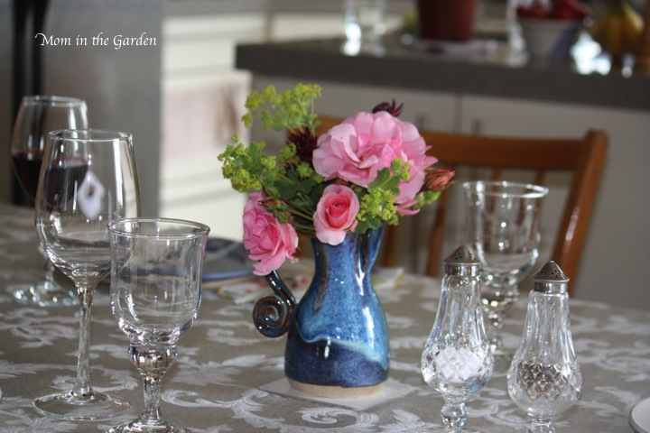 Special dinner with flowers on the table