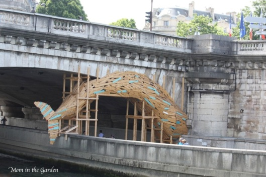 fun fish art along the Seine on our boat tour