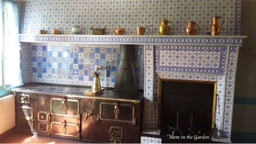 The working kitchen had beautiful blue tiles