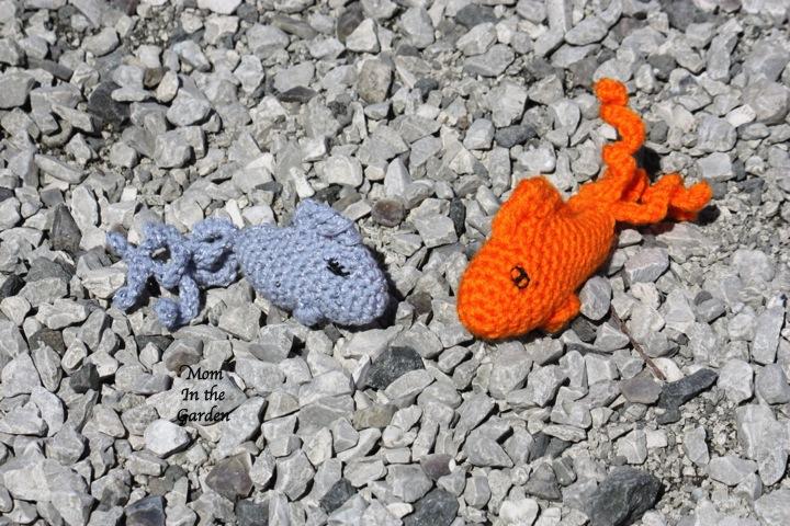 two crochet fish