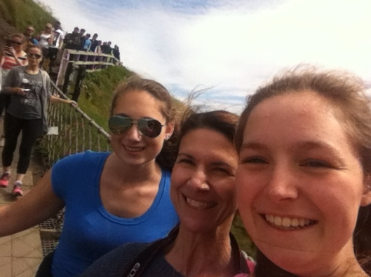 Rope bridge selfie with my daughter and niece