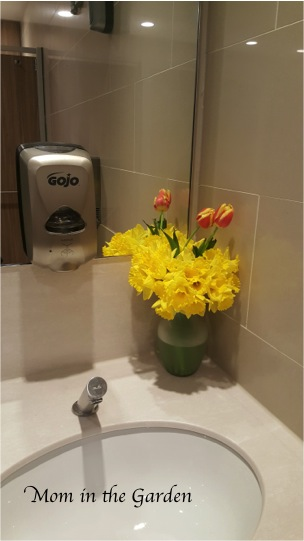 flowers in the airport restroom