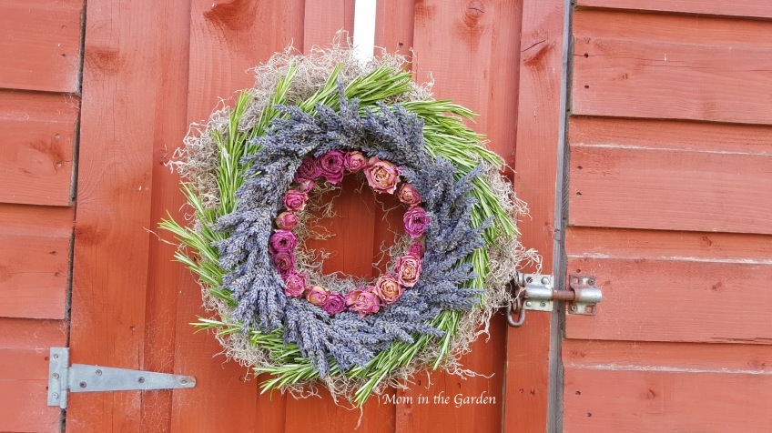 lavender wreath with roses and rosemary