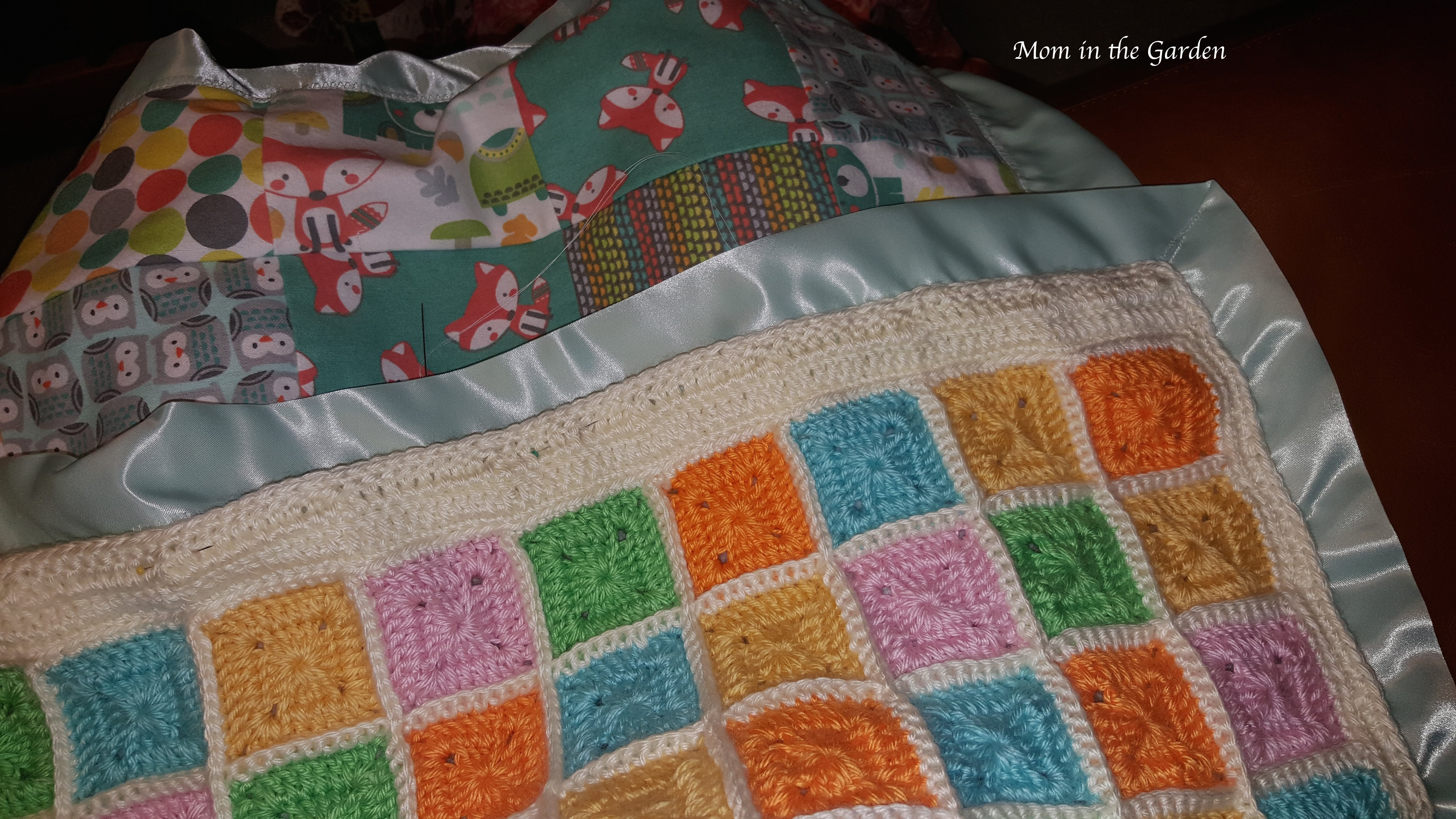 Hand Sewing Baby Blanket Mom In The Garden