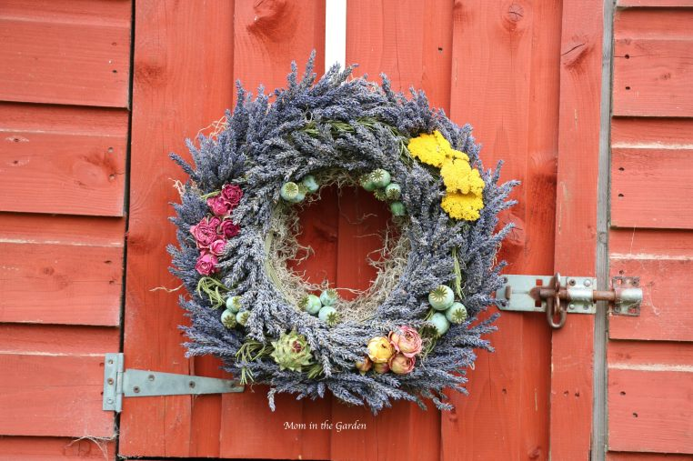 lavender wreath with garden flowers