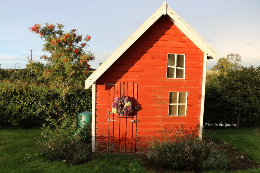playhouse with dried hydrangea wreath on door