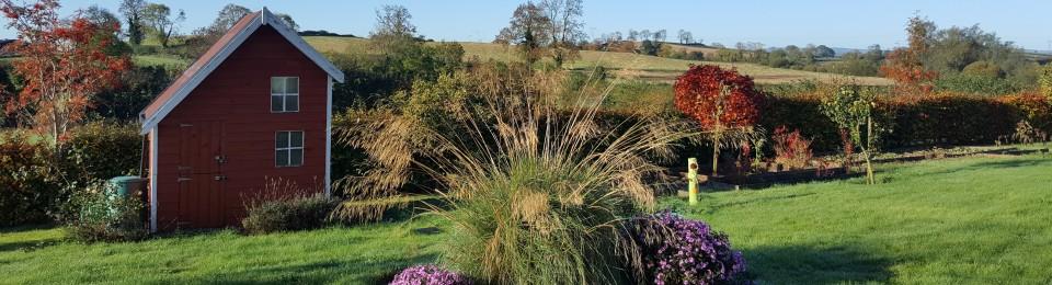 fall garden, ornamental grass, aster, playhouse and waterbutt