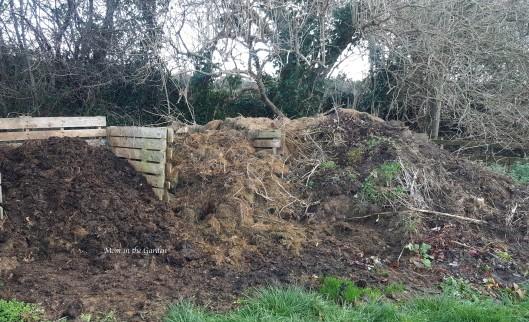 broken down compost and unbroken down compost