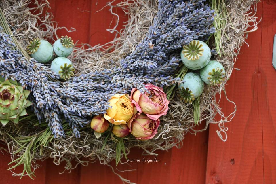 lavender wreath with roses and poppies