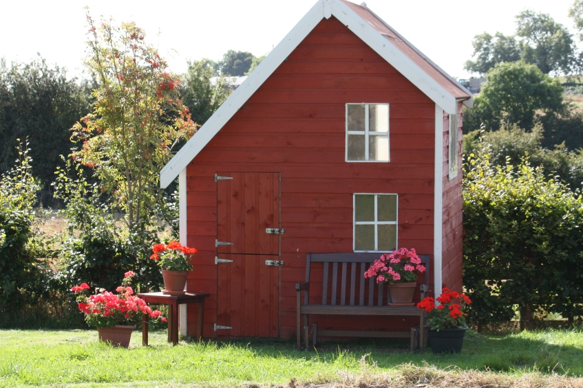 playhouse with geraniums