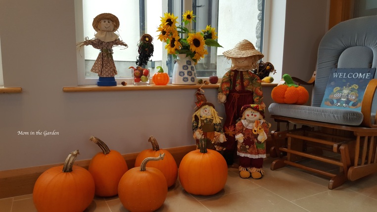 pumpkins and scarecrow decorations inside house